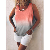 Women Casual Gradient Print Color Sleeveless Vest Tank Tops