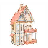3D Houten Simulatie Montage Gebouw Model Gotisch huis / Droomvilla / St. Vasey Kerk Voor Kinderspeelgoed