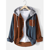 Mens Contrast Patchwork Corduroy Long Sleeve Drawstring Hooded Shirts With Pocket