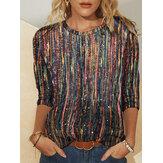 Dames multi-color gestreepte glitter bedrukte blouse met lange mouwen en O-hals