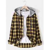 Herre Classic Plaid Langærmet Button Up Pocket Hooded Shirts