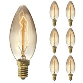 6PCS Elfeland Dimmable E14 25W Retro Edison Vintage Incandescent Light Bulb for Indoor Garden AC220V
