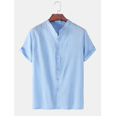 Mens Solid Color Cotton Linen Stand Collar Loose Casual Short Sleeve Shirts
