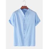 Áo sơ mi nam chất liệu cotton màu đứng cổ áo rộng giản dị