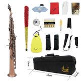 SLADE Red Bronze Straight Bb Soprano Saxophone Sax Instrumento de viento de madera Abalone Shell Key Carve Patrón con Caso Guantes Correas de tela de limpieza Cepillo