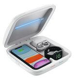 Bakeey 4 in 1 UV Licht Mobiele Telefoon Sanitizer Gezichtsmasker Sieraden Telefoon Sterilisator Doos Met Draadloze Oplader / Horloge Oplader / Oordopjes Oplader Voor Samrt Telefoon voor iPhone Apple AirPods Apple Watch