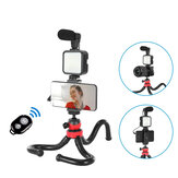 Bakeey KIT-04LM Vlogging Suit Professional Photography Kits with microphone LED Fill Light Flexible Tripod Phone Holder Remote Control for Broadcast Live YouTube Vlog Recording