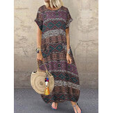 Bohemian Vintage Geometric Print Short Sleeve Side Pocket Casual Maxi Dress