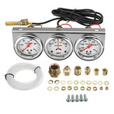 2 Zoll 52mm Öldruck Wassertemperatur Amp Meter Dreibettzimmer Gauge 3 in 1 Set Chrome Panel