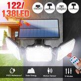 3 Head Solar Wall Light Motion Sensor Outdoor Garden Yard Street Lamp+Remote