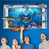 Miico 3D Kreatif PVC Wall Stiker Home Decor Mural Art Removable Submarine World Wall Decals