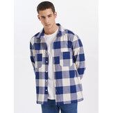 Mens Check Button Up Lapel Double Pocket Casual Long Sleeve Shirts