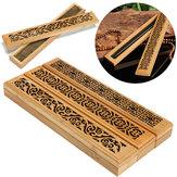 Bamboo Incense Burner Box Drawer Magnet Incense Lore Hollow Carving Cover Burner Censer Holder