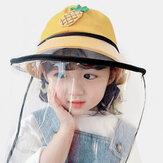 子供のダストキャップ取り外し可能なフェイススクリーン防風透明漁師帽子