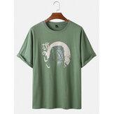 Katoenen T-shirts met ronde hals, ademende dierenprint en ronde hals