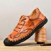 Menico Menico Retro British Style Comfy Microfiber Leather Soft Scarpe casual cucite a mano