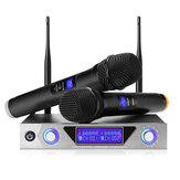 Système de microphone sans fil UHF NASUM Microphones dynamiques à main sans fil à double canal et récepteur portable, LCD Affichage Ensemble professionnel KTV domestique