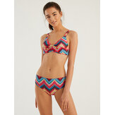 Women Front Twisted Colorful Geometric Chevron Ethnic Style String Vintage Bikini