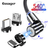 Essager 540 Rotate Câble magnétique Micro USB Type C Câble Câble de données de charge rapide pour POCO X3 NFC pour Samsung Galaxy Note S20 ultra Huawei