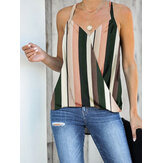 Green Striped Sleeveless V-neck Front Cross Design Halter Tank Top