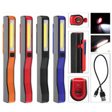 Portable LED+COB Rechargeable Pocket Work Light Magnetic Pen Clip Camping Car Inspection Flashlight