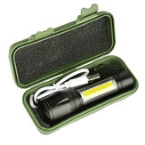 XANES 1517B XPE + COB Dual Lights 1000Lumens Zoomable USB Rechargeable EDC Tactical LED Flashlight Suit