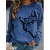 Women Cute Cartoon Cat Print Round Neck Loose Casual Long Sleeve T-Shirts