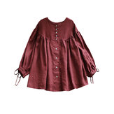 Plus Size Vintage Long Sleeve Button Down Front Blouse