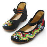 Handmade Summer Women Comfort Canvas Slippers Dragon Embroidery Chinese Old Beijing Slide Shoes for Ladies