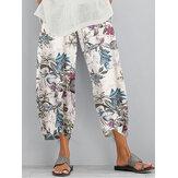 Retro Floral Print Cintura Elástica Irregular Bainha Bolso Casual Calças Para Mulheres