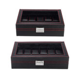 10/12 Slots Carbon Fibre PU Leather Watch Display Box