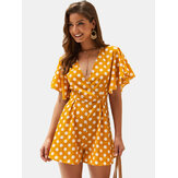 Polka Dot Print V-neck Short Sleeve Mini Dress