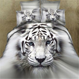 3 PCS Bedding Sets 3D Animal Tiger Head Printing Quilt Cover Pillowcase For Full Size