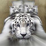 3 PCS Conjuntos de Cama 3D Cabeça de Tigre Animal Impressão Quilt Capa Fronha Para O Tamanho Completo