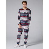 Mens Two-Pieces O Neck Christmas Pajama Set