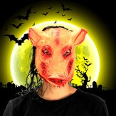 Halloween Creepy Animal Prop Latex Party Unisex Scary Pig Head Mask With Hair Cosplay