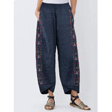Women Vintage Embroidery Elastic Waist Loose Casual Pants