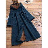Corduroy Frog Button Solid Color Hooded Maxi Coats