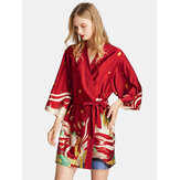 Summer V-Neck 3/4 Sleeve Printed Short Bathrobe Nightgown
