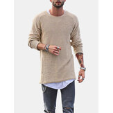 Mode Männer stricken Solid Color O-Neck T-Shirts