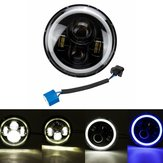 7inch Round LED Headlights Blue Halo Ring Angel Angel for Jeep Wrangler JK TJ LJ CJ