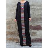 Plus Size Women Ethnic Style Print Bat Sleeve Conservative Maxi Dress with Pockets