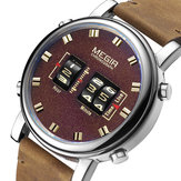 MEGIR 2137 Business Style Leather Strap Men Wrist Watch