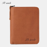 Men Genuine Leather Vintage Zipper Coin Wallet