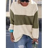 Women Casual Crew Neck Patchwork Long Sleeve Sweaters