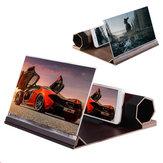 Tela de Telefone Universal 3D Magnifier Stereoscopic Amplifying 12 Polegada Desktop Suporte De Madeira Suporte Do Telefone Para Smartphone