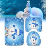 3pcs Set Natal Boneco de neve Assento do vaso sanitário cobre Banheiro Tapete antiderrapante Tapete Xmas Decor