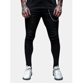 Mens Sport Breathable Stripe Slim Freizeithose