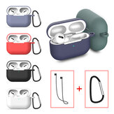 Bakeey Silicone Shockproof Dirtproof Earphone Storage Case with Keychain & Anti-lost Rope for Apple Airpods Pro 2019