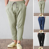 Mens Elastic Waist Loose Linen Pants Casual Harem Formal Office Work Trousers US